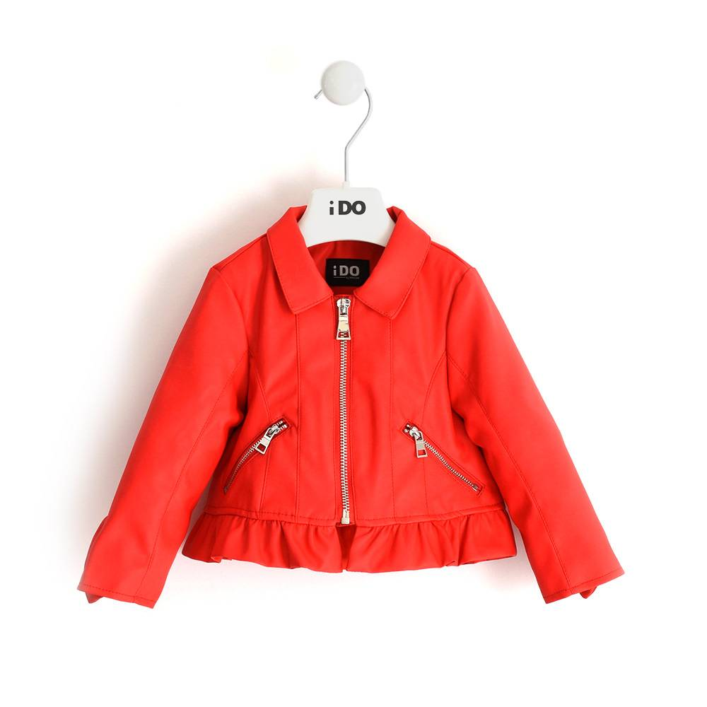 Куртка для девочки iDO байкеровская из экокожи с воланом 4.J355.00/2235