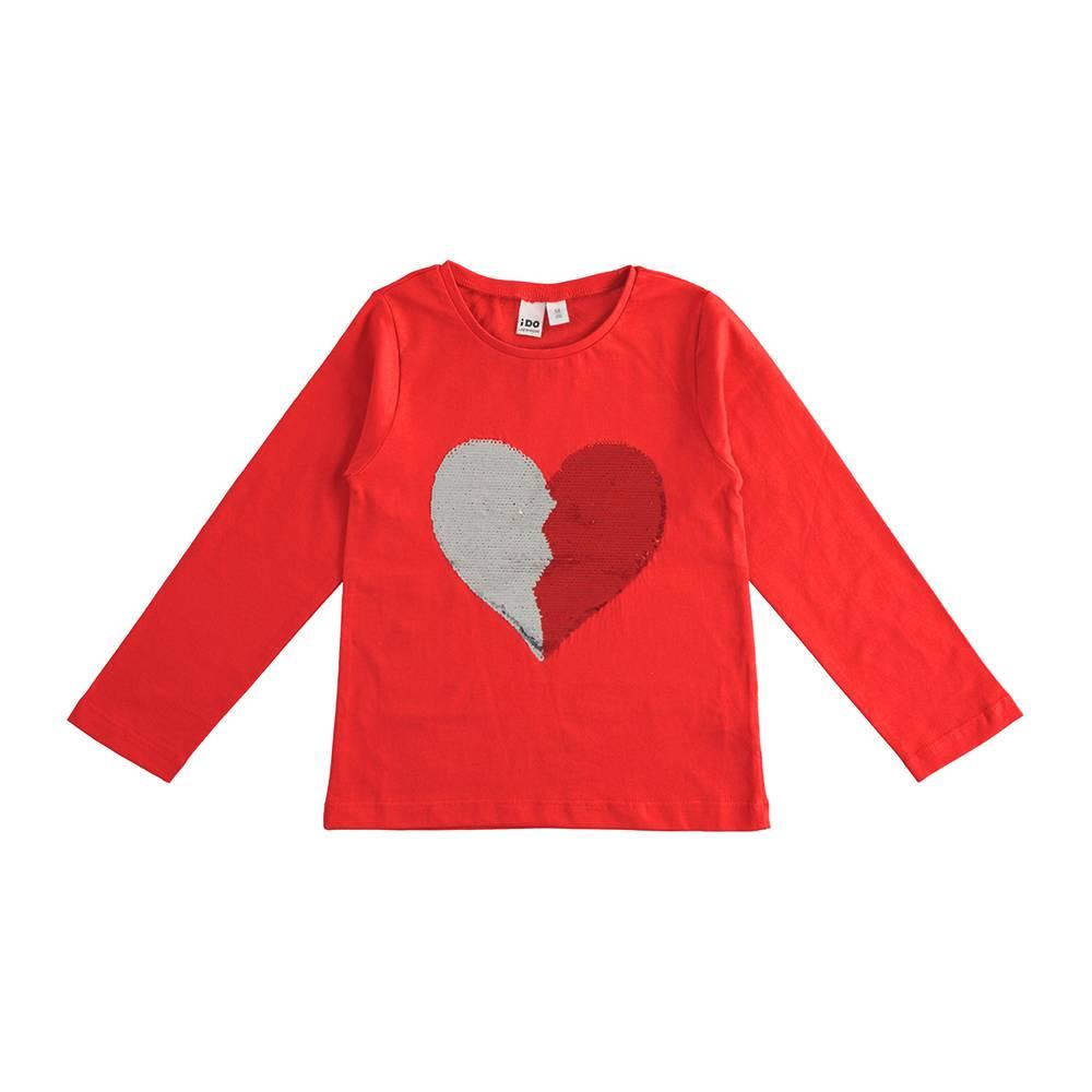 Реглан для девочки iDO хлопок трикотаж поворотные блестки в виде сердца 4.J510.00