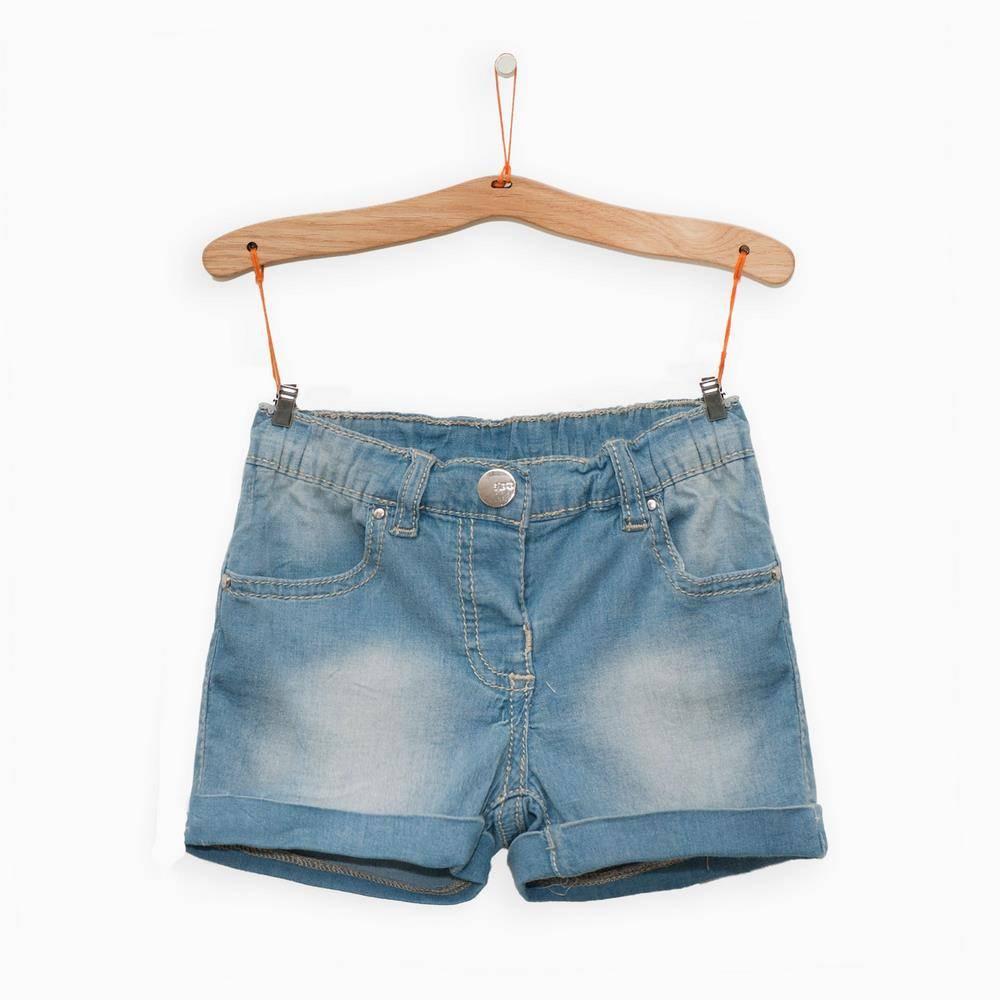 Шорты для девочки iDO джинсовые голубые с потертостями 4.Q782.00/7310