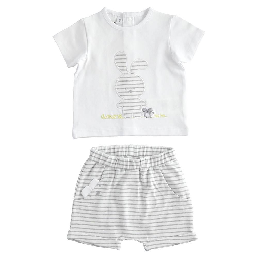 Комплект костюм для девочки iDO летний трикотаж хлопок футболка шорты аппликация 4.J143.00/8011