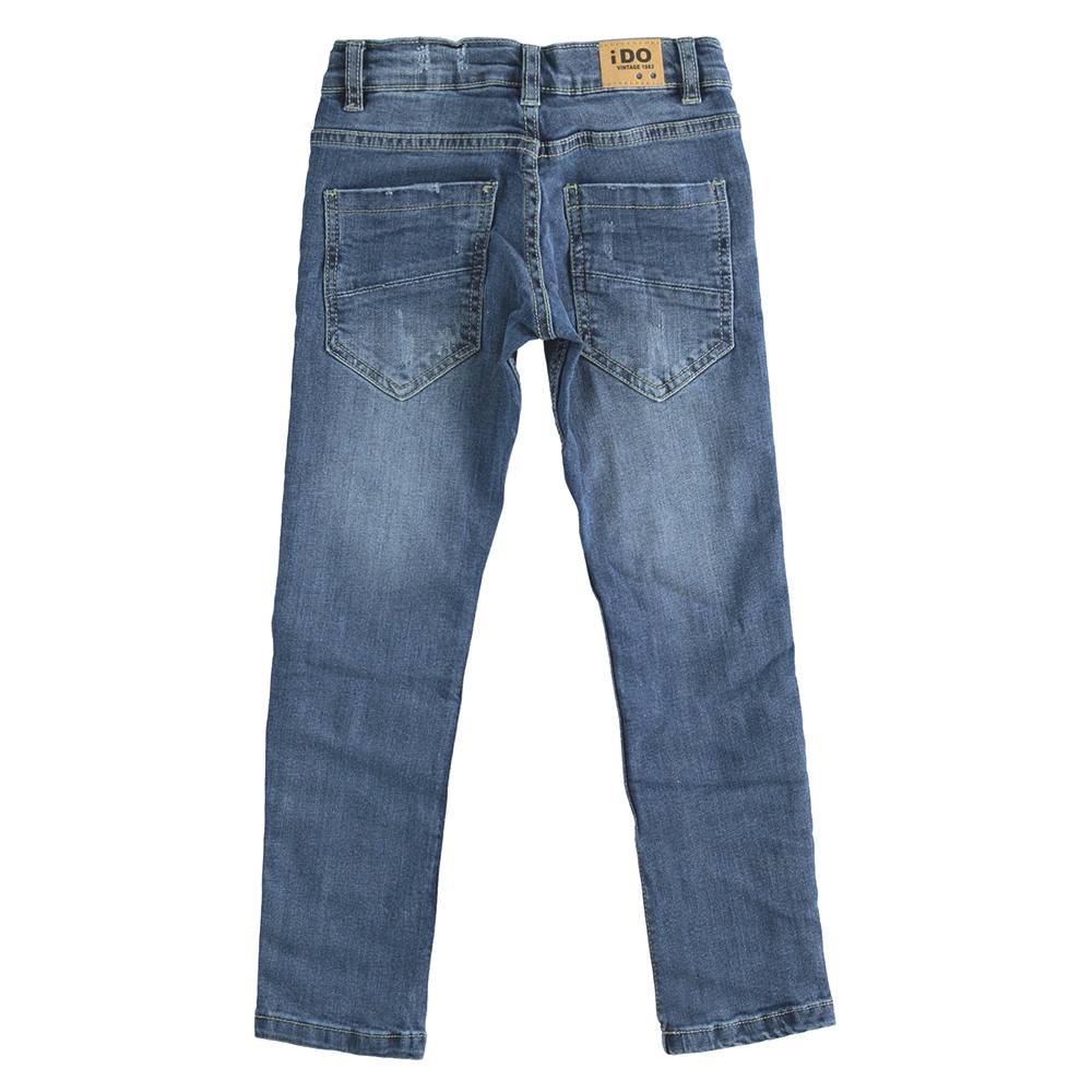 Джинсы для мальчика iDO подростка выбеленные с потертостями царапинами зауженные регулируемая талия 4.J429.00