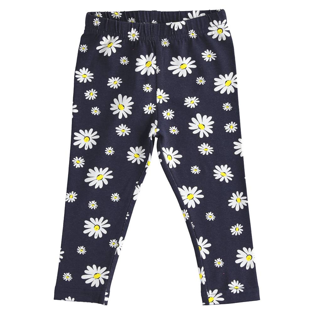 Леггинсы для девочки iDO трикотаж хлопок цветочный принт 4.J343.00/6NA6