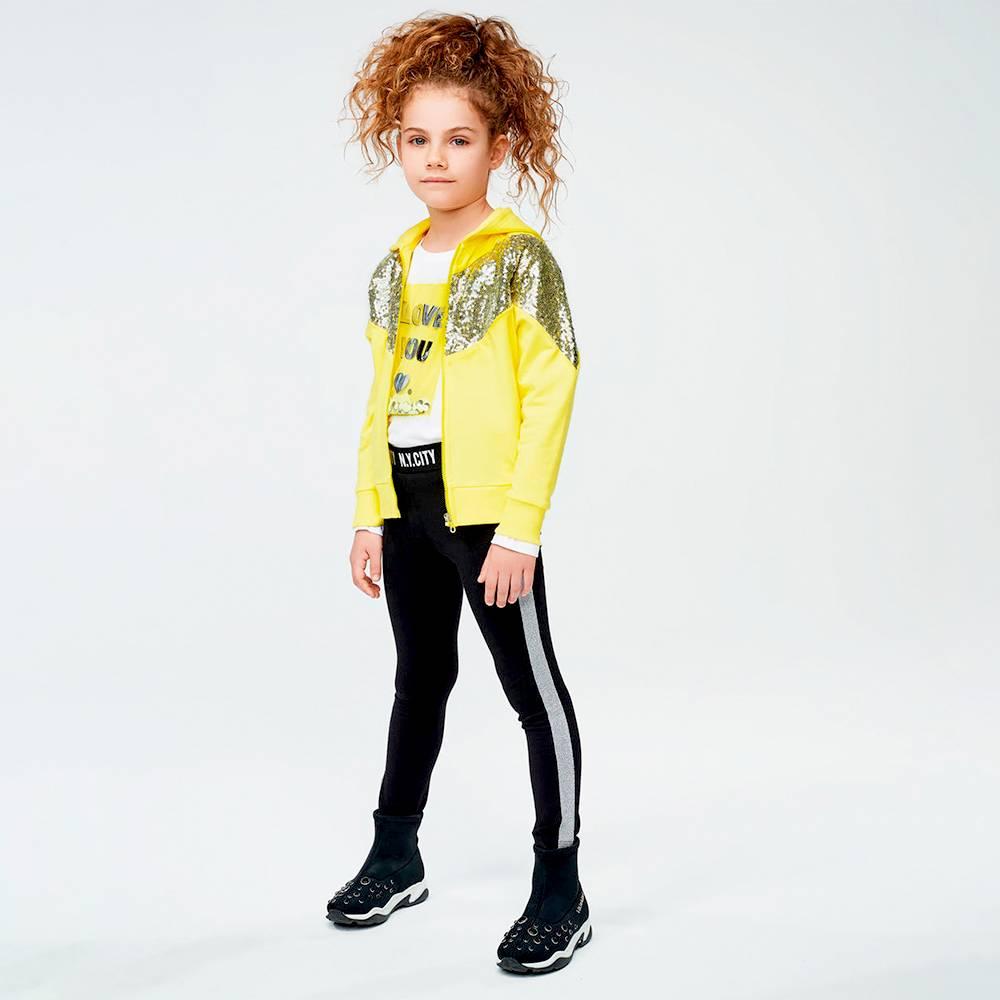 Леггинсы для девочки iDO подросток трикотажные с боковыми люрексовыми вставками 4.J536.00/0658