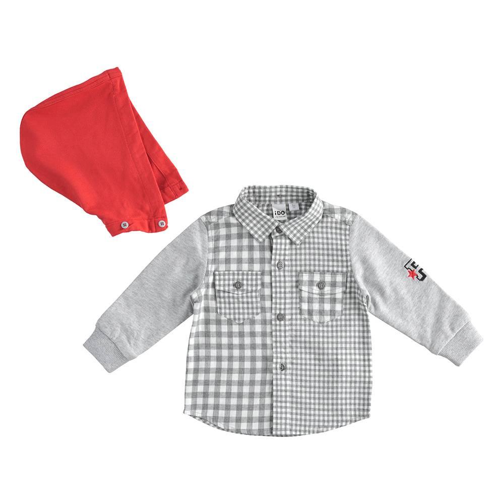 Рубашка для мальчика iDO хлопок клетка капюшон 4.J209.00/0519/12M