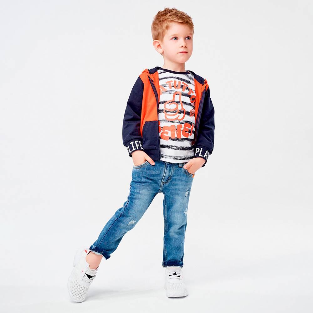 Футболка для мальчика iDO хлопок полосатый трикотаж с принтом 4.J231.00/6MG4
