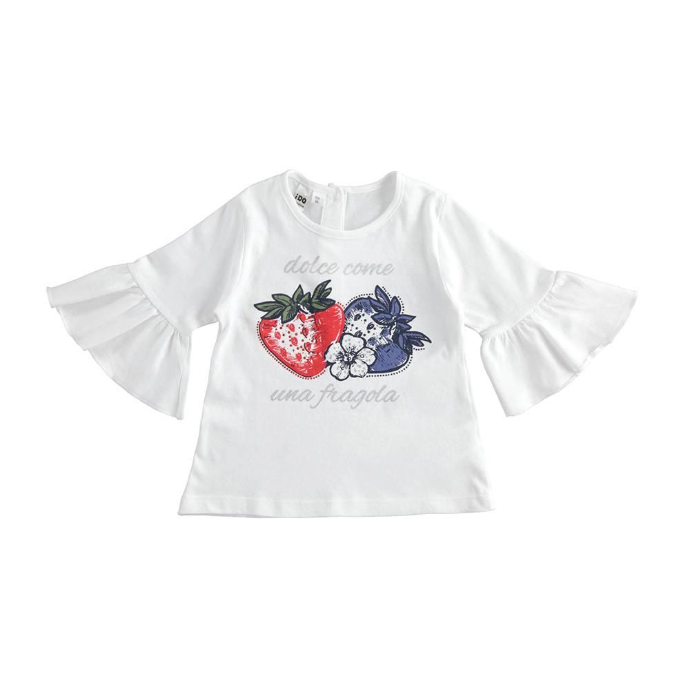 Футболка для девочки iDO хлопок трикотаж рукав 3/4 волан 4.J328.00/0113