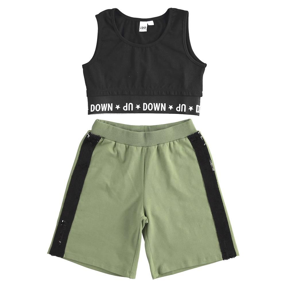 Комплект костюм для девочки iDO летний трикотаж хлопок майка шорты 4.J894.00/8390