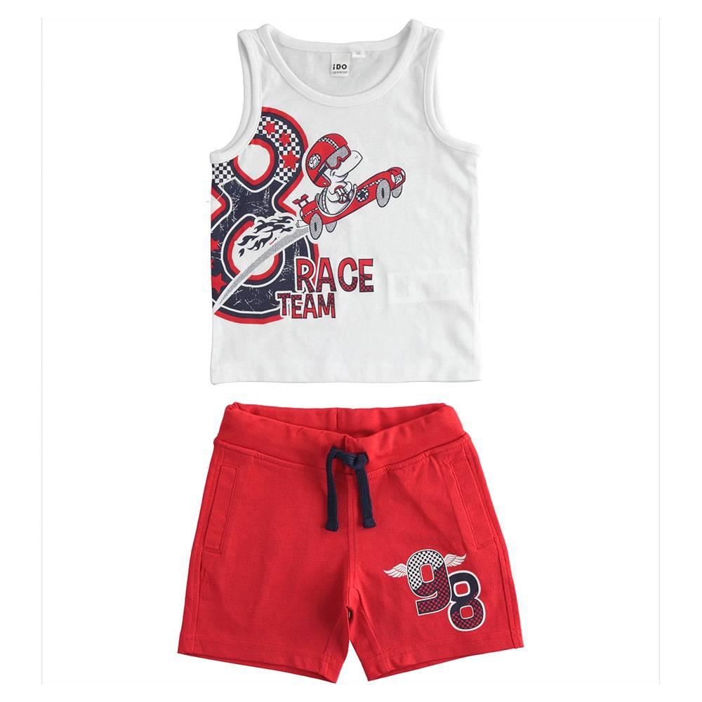 Комплект для мальчика iDO летний спортивный хлопок трикотаж принт 4.J027.00/8025