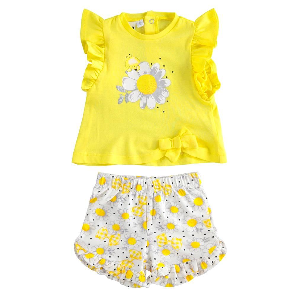 Комплект костюм для девочки iDO летний трикотаж хлопок футболка шорти 4.J654.00/8041