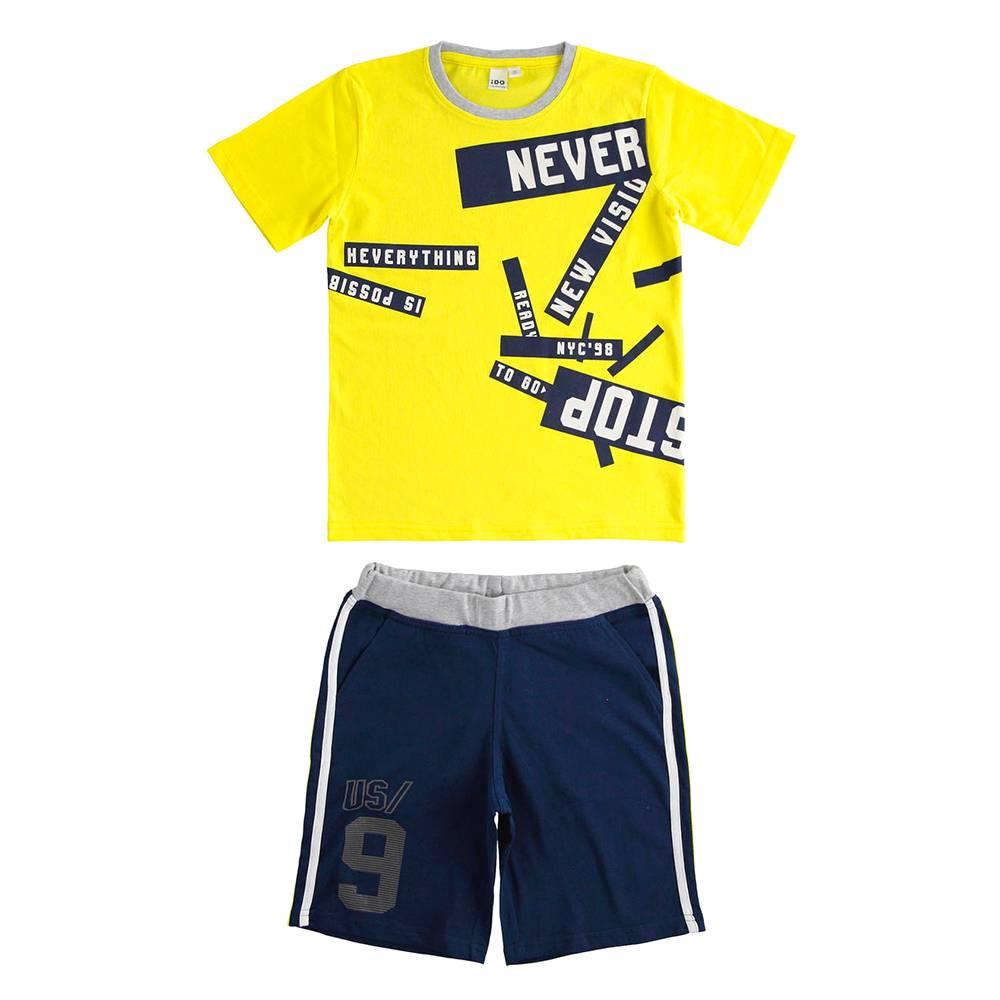 Комплект для мальчика iDO летний спортивный хлопок трикотаж принт 4.J840