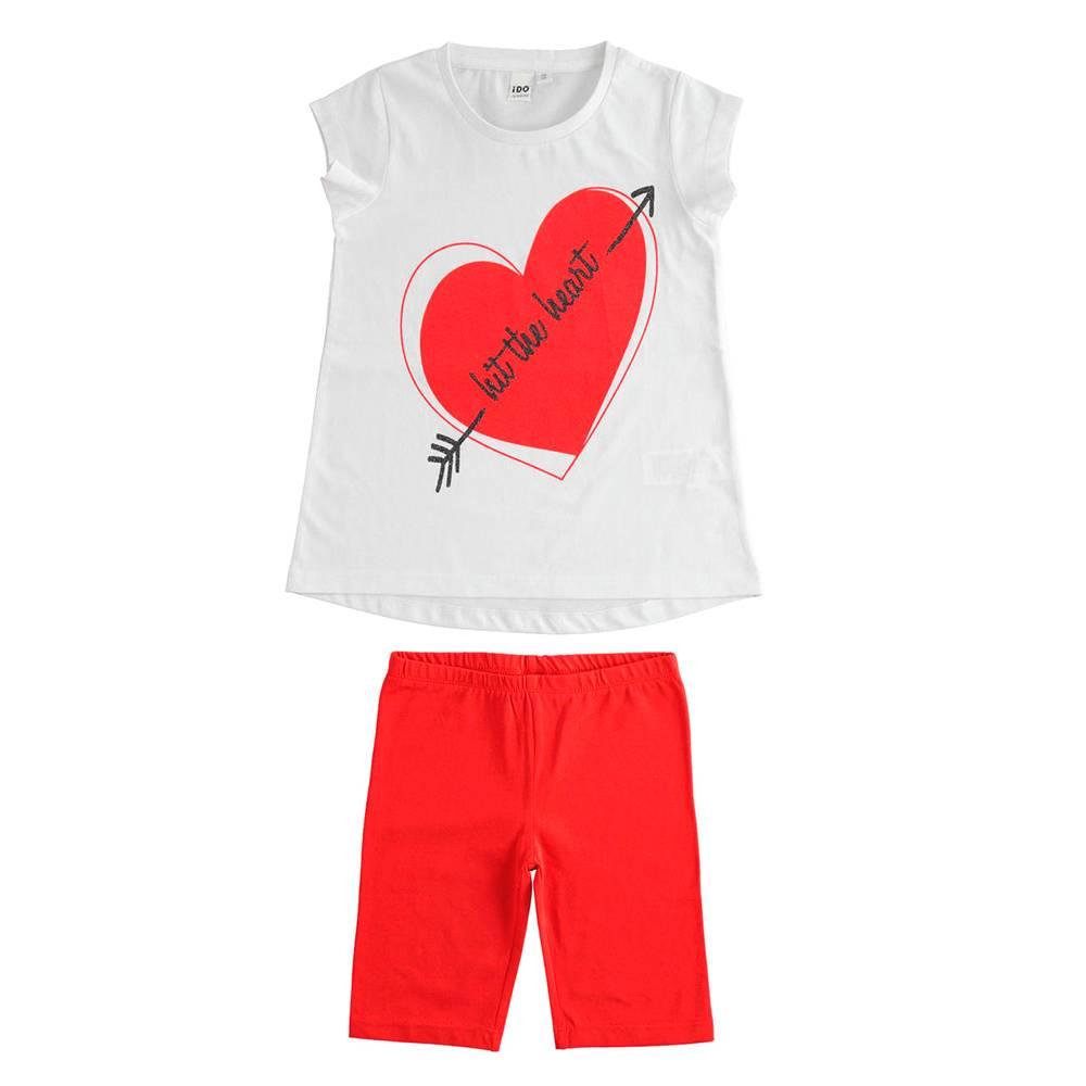 Комплект костюм для девочки iDO летний трикотаж хлопок футболка шорты 4.J032.00/8025
