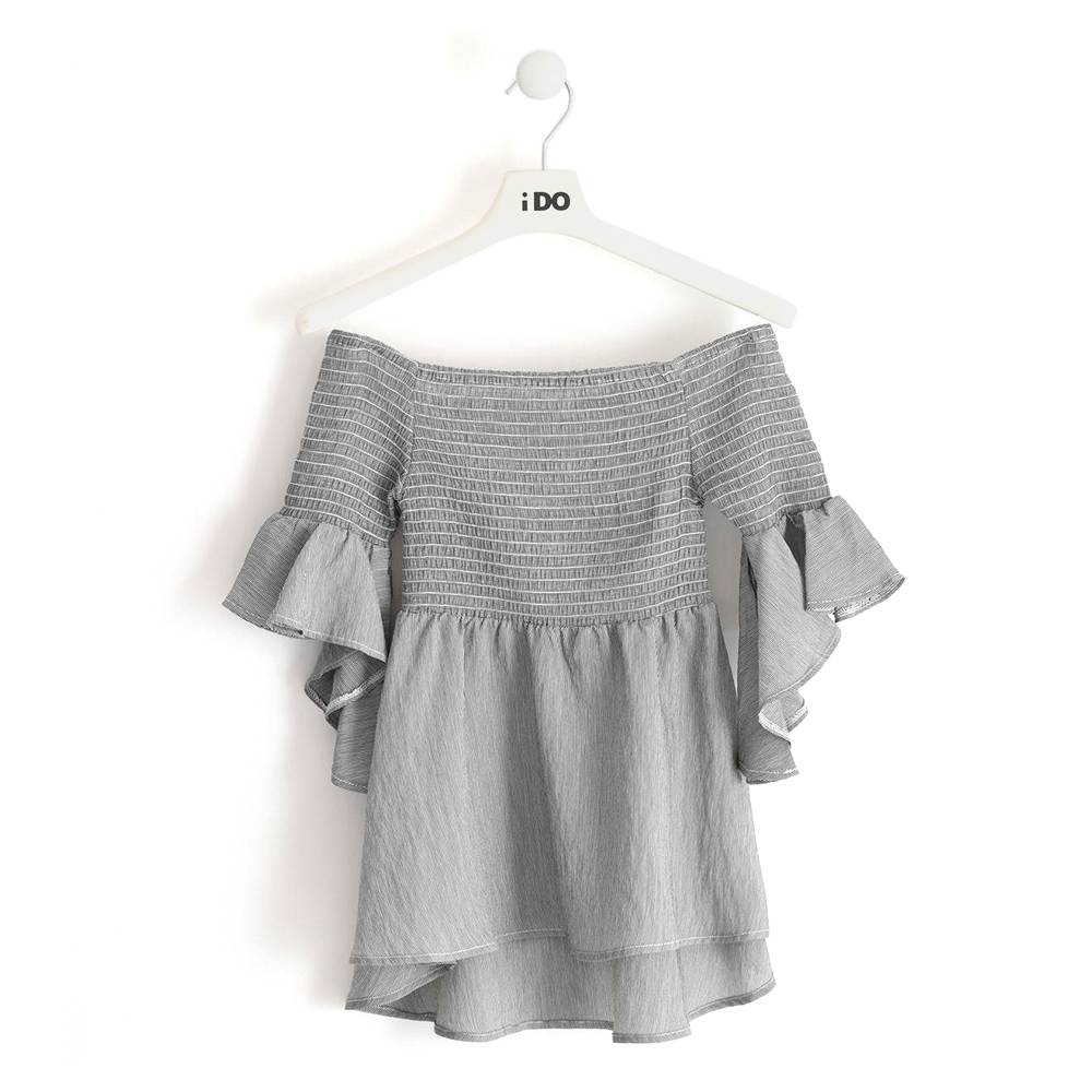 Блуза для девочки iDO в полоску рукав 3/4с воланом 4.J869.00/0658