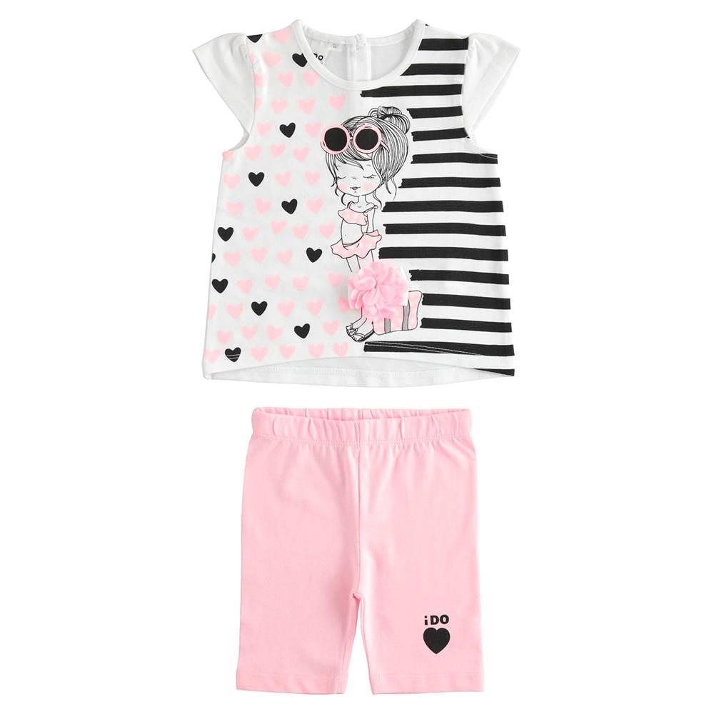 Комплект костюм для девочки iDO летний трикотаж хлопок футболка шорты 4.J345.00/8002
