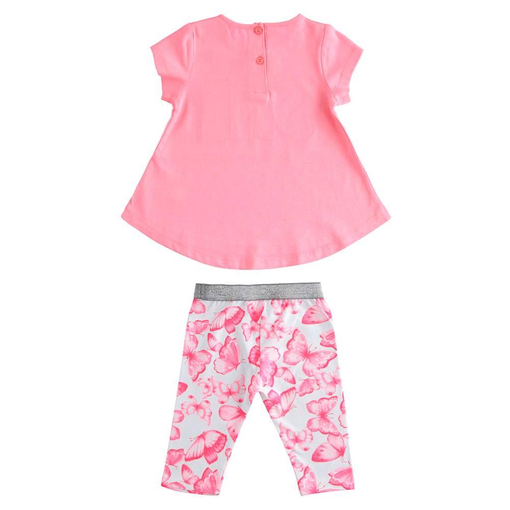Комплект костюм для девочки iDO летний трикотаж хлопок футболка шорты 4.J784.00/8055
