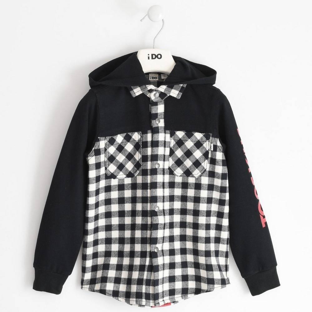 Рубашка для мальчика iDO подросток клетка капюшон 4.1700.00