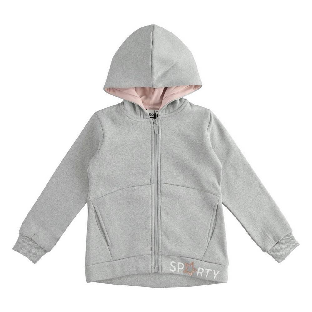 Толстовка для девочки iDO подросток серый трикотаж капюшон 4.1387.00/8992/7A