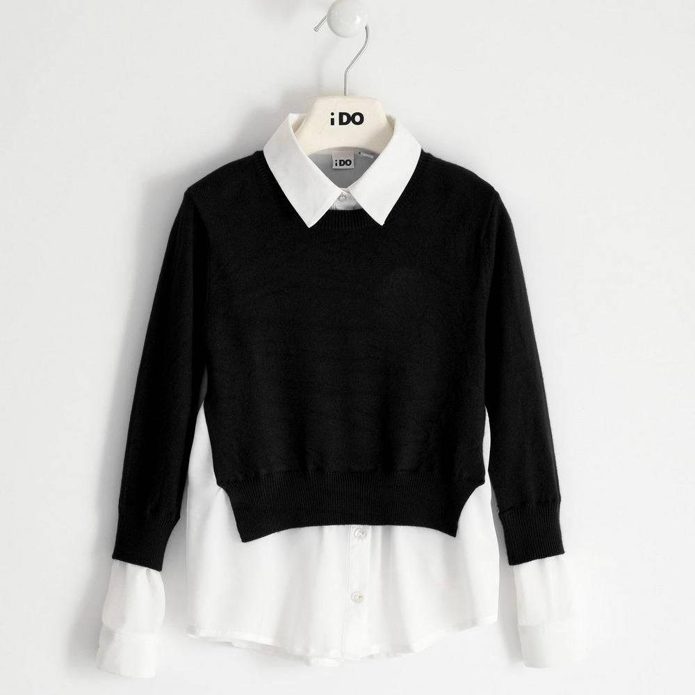 Свитер для девочки iDO подросток вязаный с имитацией рубашки 4.1909.00