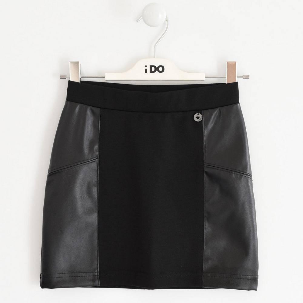 Юбка для девочки iDO подросток эко-кожа черный 4.1968.00/0658
