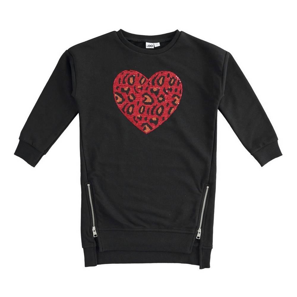 Платье для девочки iDO теплое длинный рукав принт в виде сердца 4.1971.00/0658