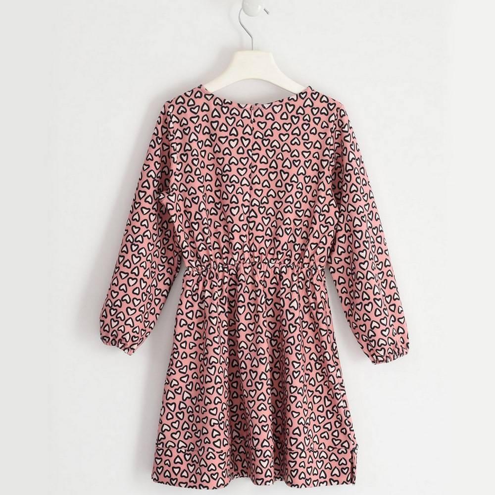 Платье для девочки iDO длинный рукав принт 4.1976.00/6NZ5