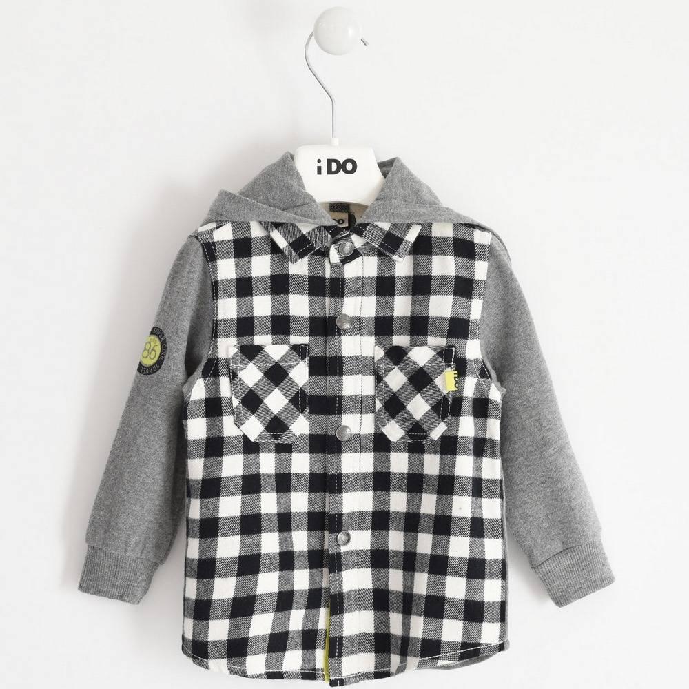 Рубашка для мальчика iDO хлопок клетка капюшон 4.1400.00/0112