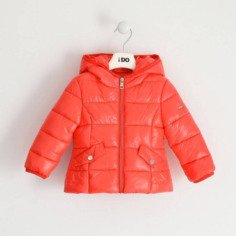 Куртка для девочек iDO красная демисезонная утепленная стеганая с капюшоном 4.1341.00/2232