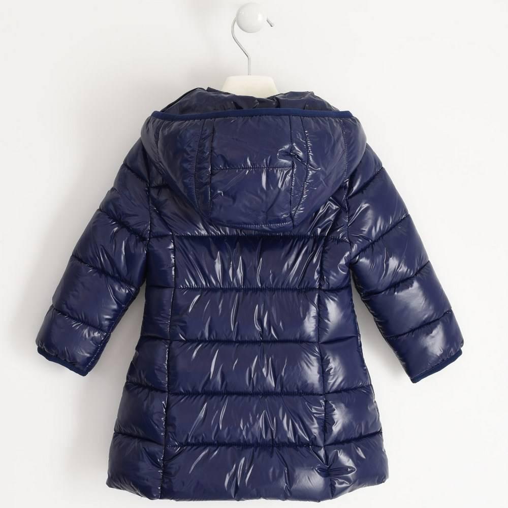 Пальто для девочек iDO синий демисезонное утепленное стеганое с капюшоном 4.1342.00/3854
