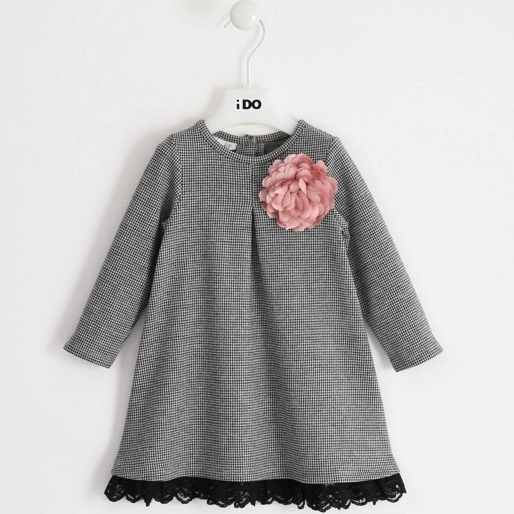 Платье для девочки iDO теплое клетчатое длинный рукав с брошкой 4.1633.00/0658