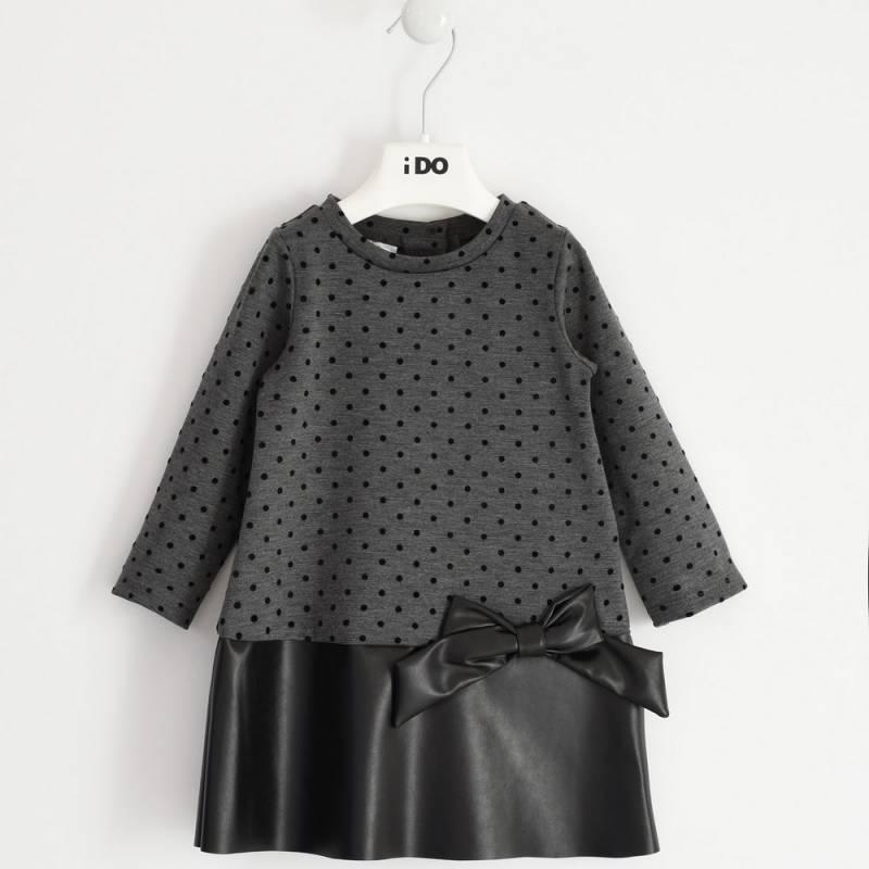 Платье для девочки iDO длинный рукав клетка вставка эко кожа 4.1639.00/6NU4/