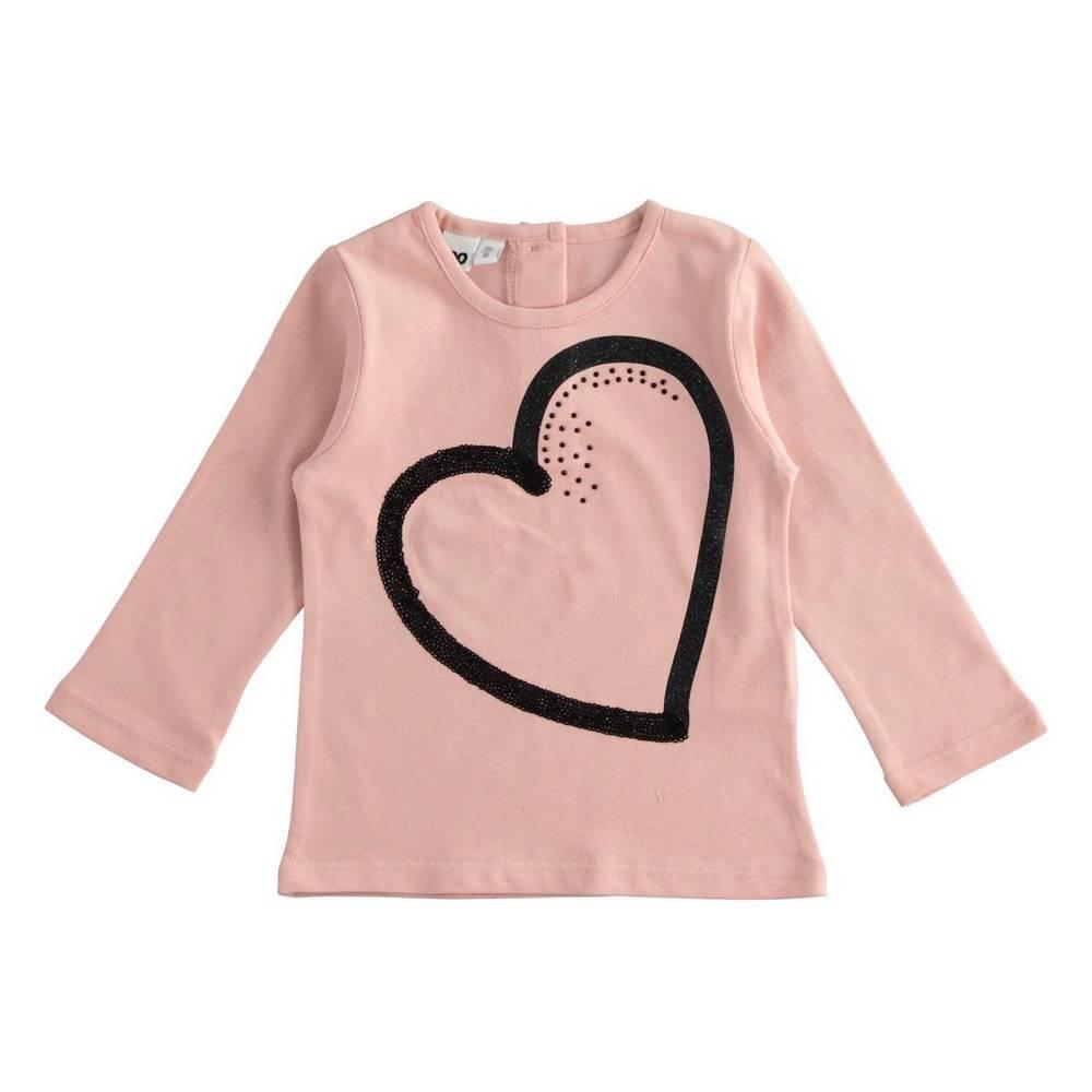 Реглан для девочки iDO трикотаж хлопок принт сердце 4.1664.00/2513