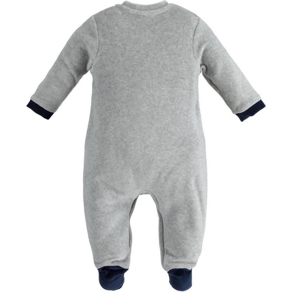 Человечек для мальчика iDO комбинезон серый велюровый аппликация застежка спереди 4.1168.00/8992