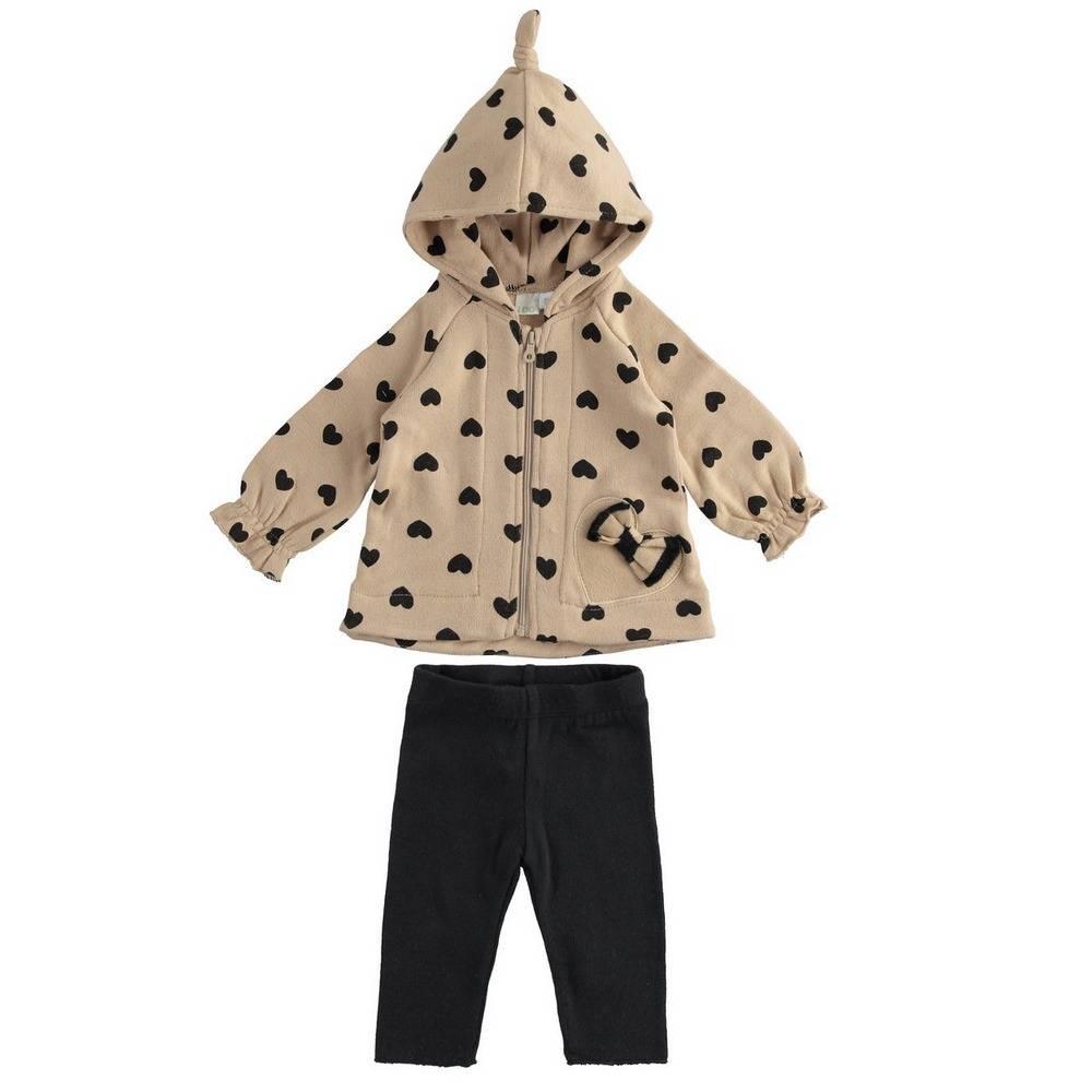 Комплект для девочки iDO вязаный толстовка з капюшоном штаны 4.1241.00/6NG7