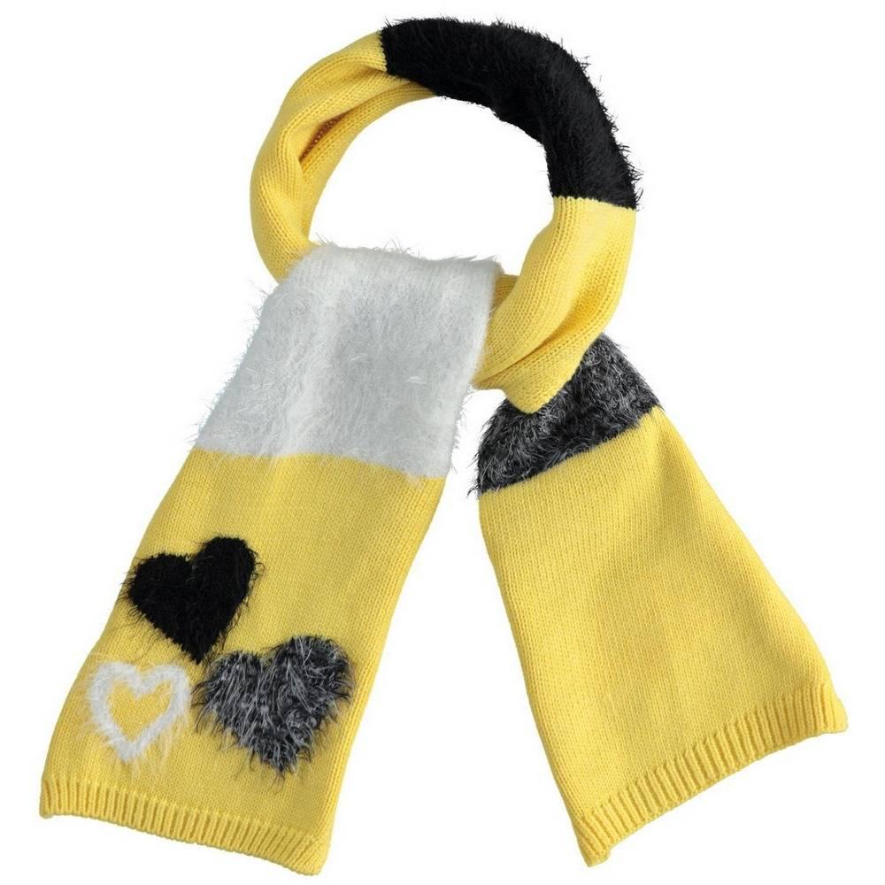 Шарф для девочки iDO зимний вязаный желтый с принтом 4.1080.71/1611