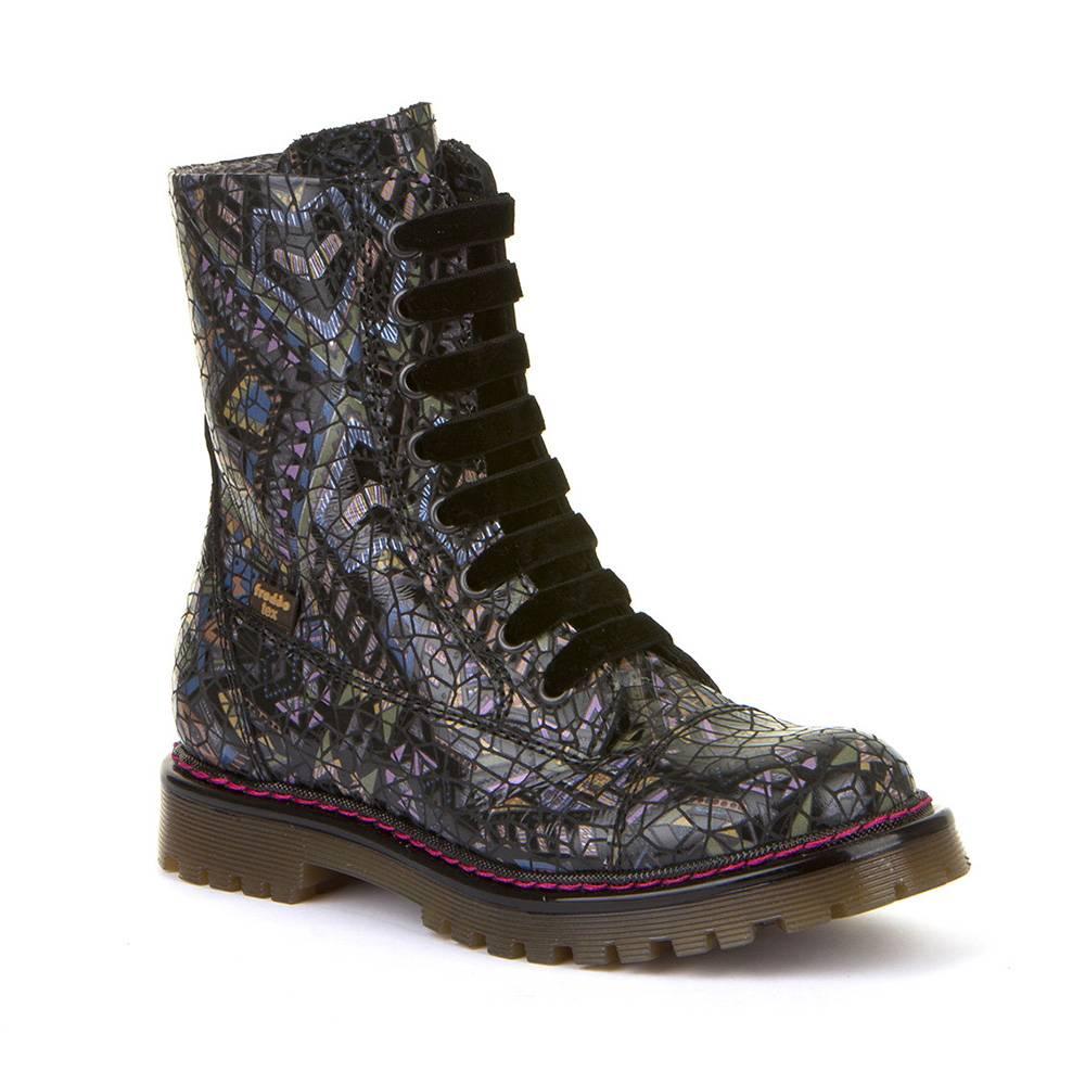 Ботинки для девочки Froddo зимние натуральная кожа на молнии шнурки G3110162-3/Black+