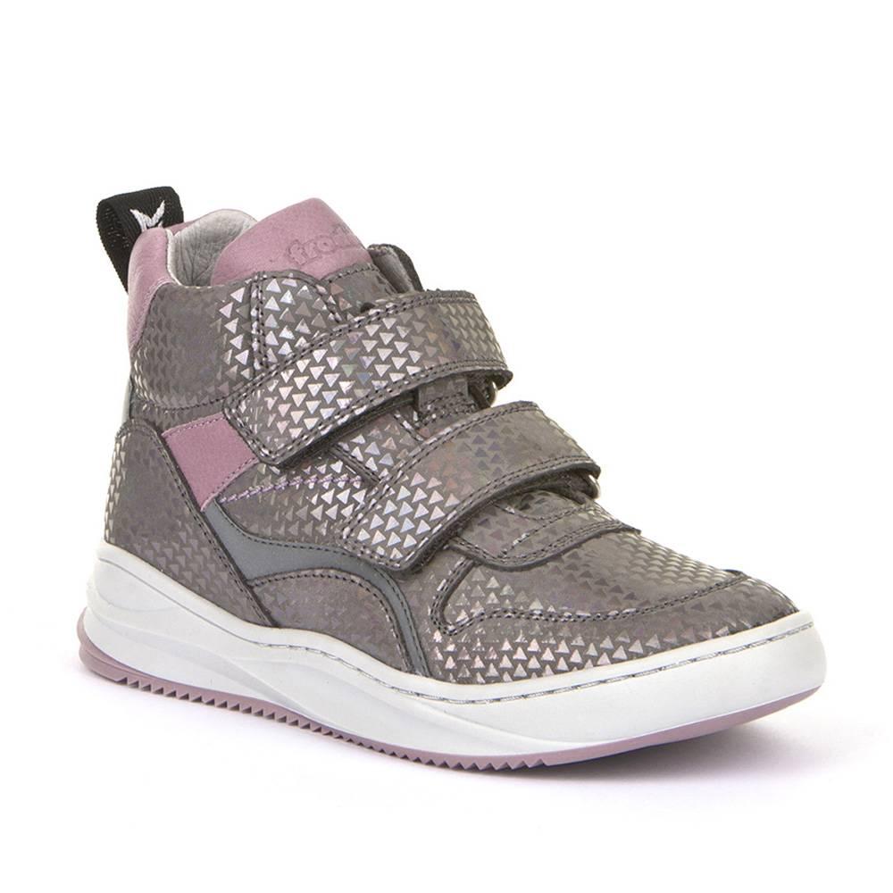 Кроссовки для девочки Froddo демисезонные натуральна кожа липучки светоотражатели G3110146-4/Grey-silver
