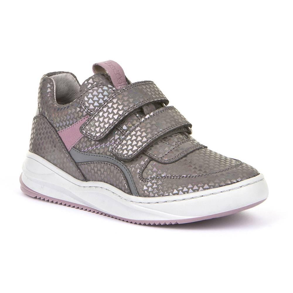Кроссовки для девочки Froddo демисезонные натуральна кожа липучки светоотражателиG3130155-3/Grey-silver