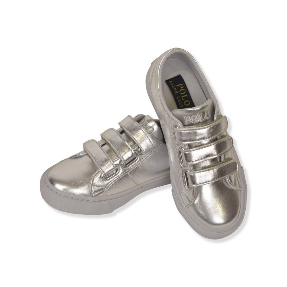 Кроссовки POLO SCHOLAR EZ для девочки демисезонные серебро липучки 993618/SILVER_METALLIC