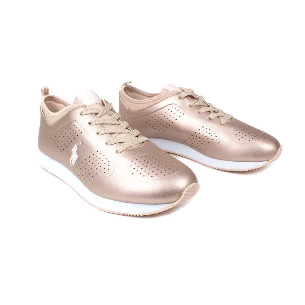 Кроссовки POLO для девочки демисезонные золотой шнурки RF100281/Rose_Gold