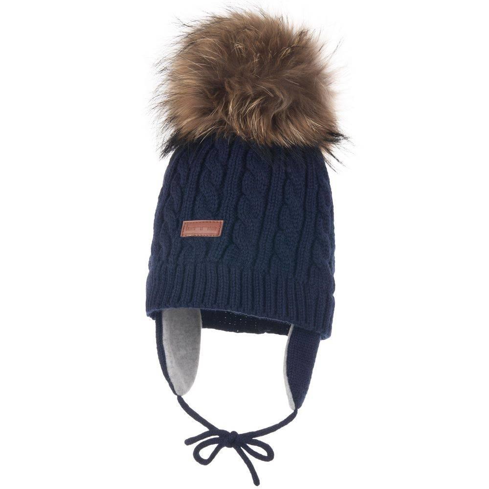 Шапка для девочки LENNE зимняя вязанная съемный помпон натуральный мех JANNE 20379A