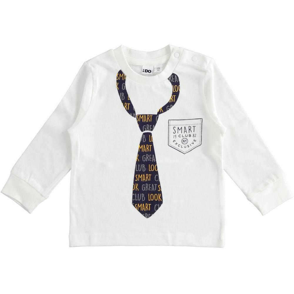 Реглан для мальчика iDO трикотаж хлопок принт в виде галстука 4.1416.00/0112