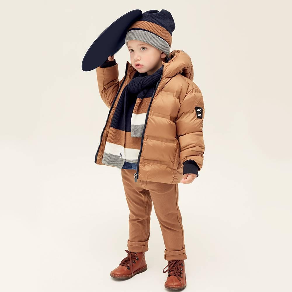 Куртка для мальчика iDO демисезонная утепленная стеганая с капюшоном 4.1464.00/0818