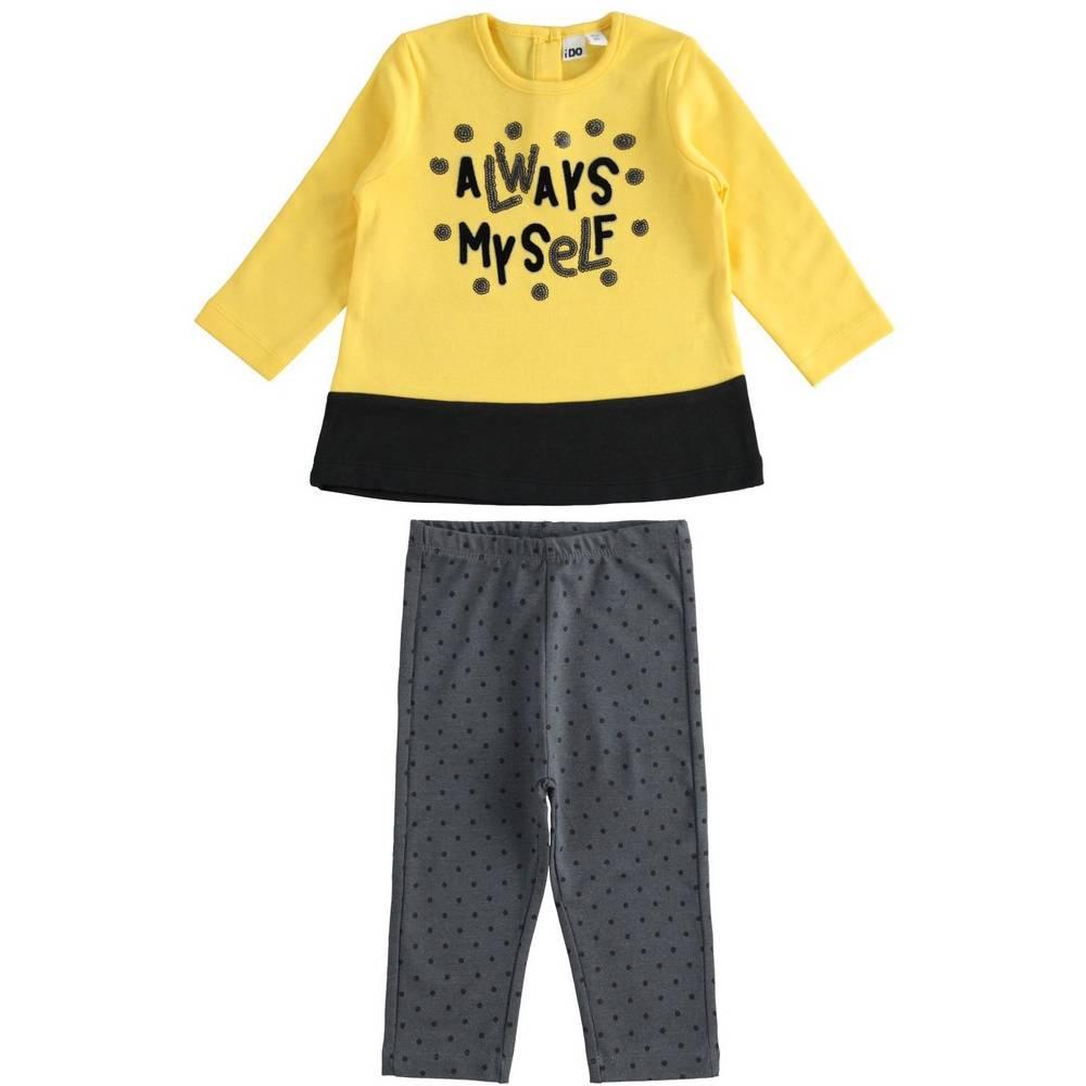 Комплект для девочки iDO трикотаж хлопок туника с рукавами леггинсы 4.1607.00/1611