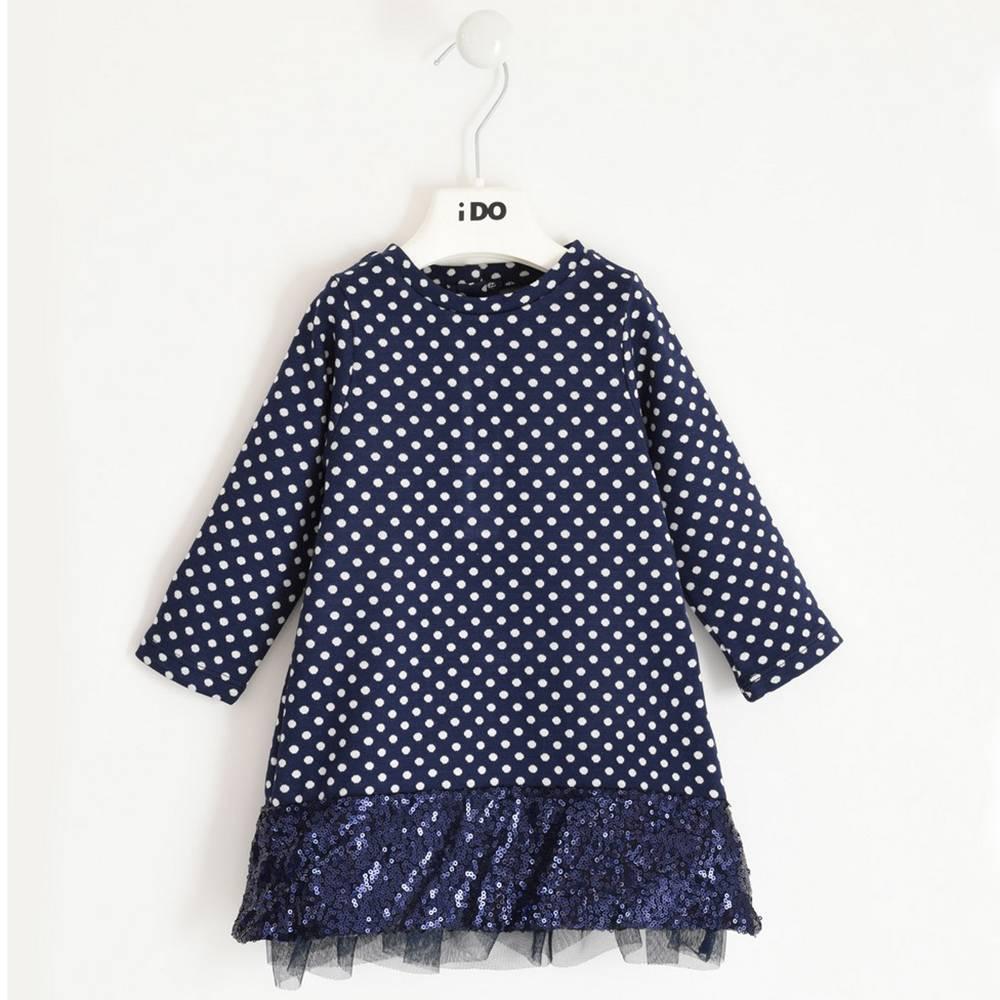 Платье для девочки iDO длинный рукав мелкий горошек рюш 4.1637.00/3854