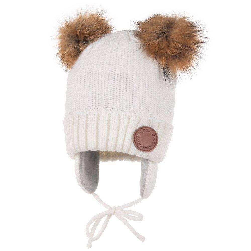 Шапка для девочки LENNE зимняя вязанная 2 съемных помпона натуральный мех LEN 20374A/229