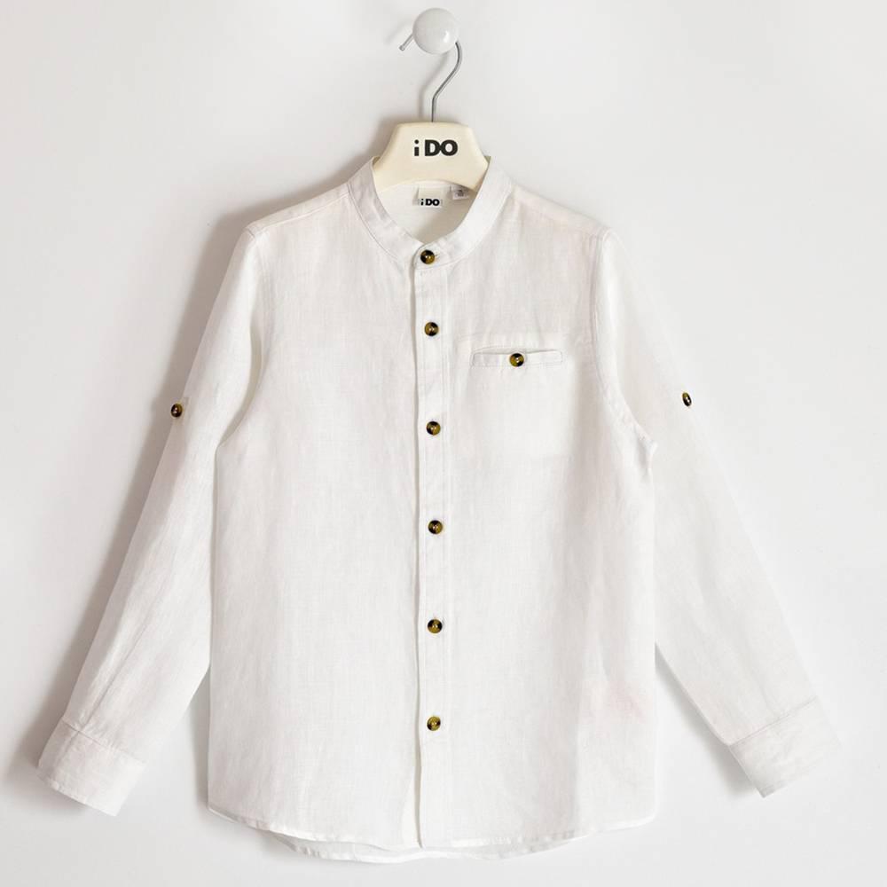 Рубашка для мальчика iDO подростка классика лен белая 4.2403.00/0113