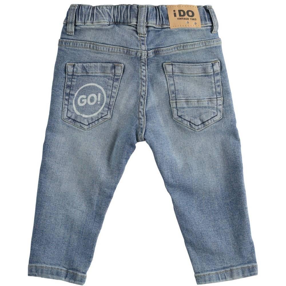 Джинсы для мальчика iDO деним выбеленные с потертостями принтом 4.2241.00/7450