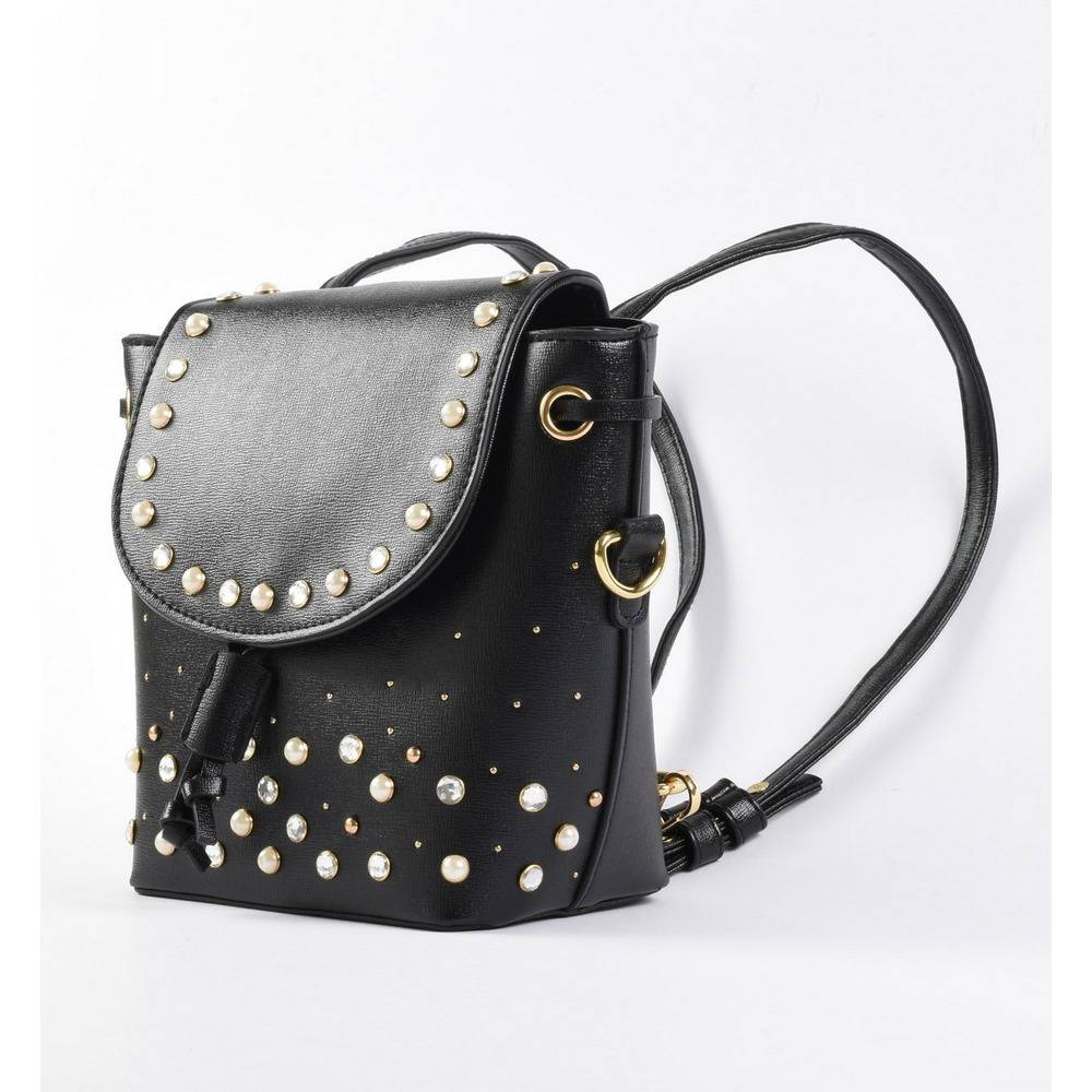 Рюкзак для девочки iDO модный черный на заклёпках 4.2592.00/0658