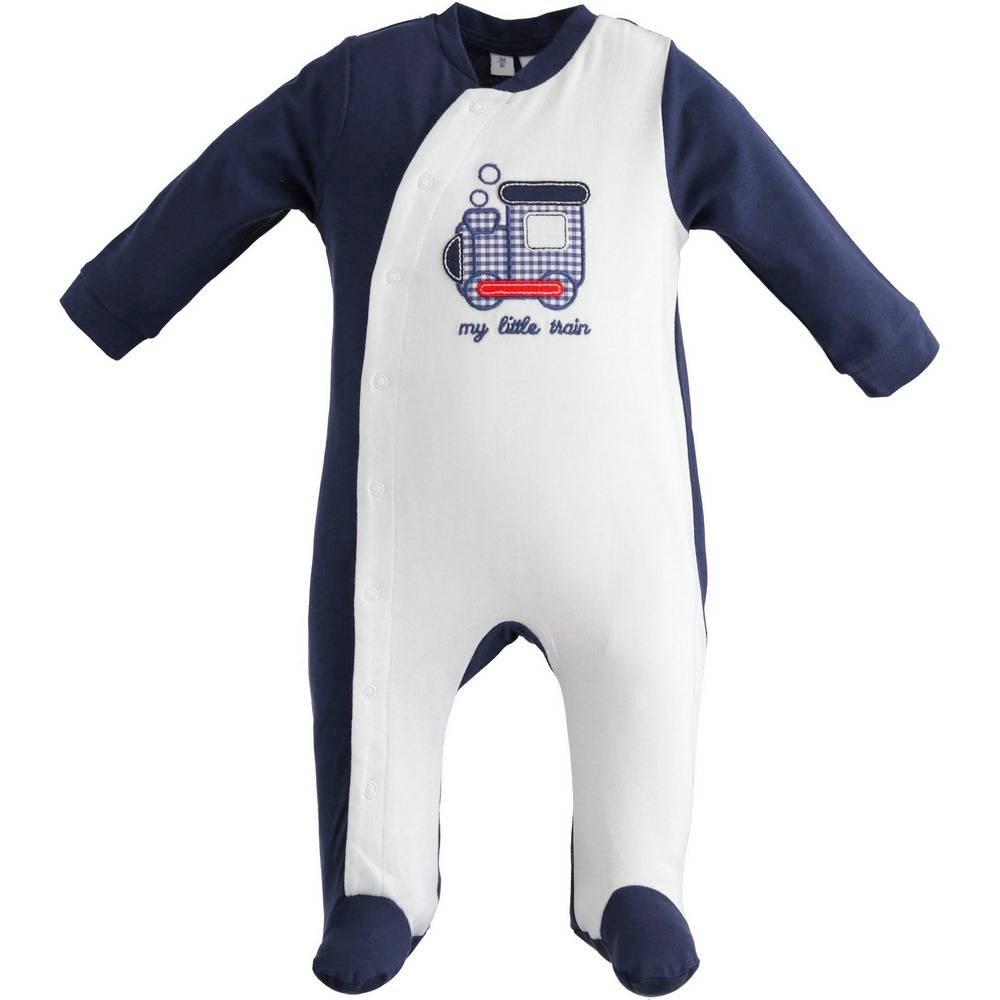 Человечек для мальчика iDO комбинезон синий трикотаж аппликация застежка спереди 4.2068.00/3854