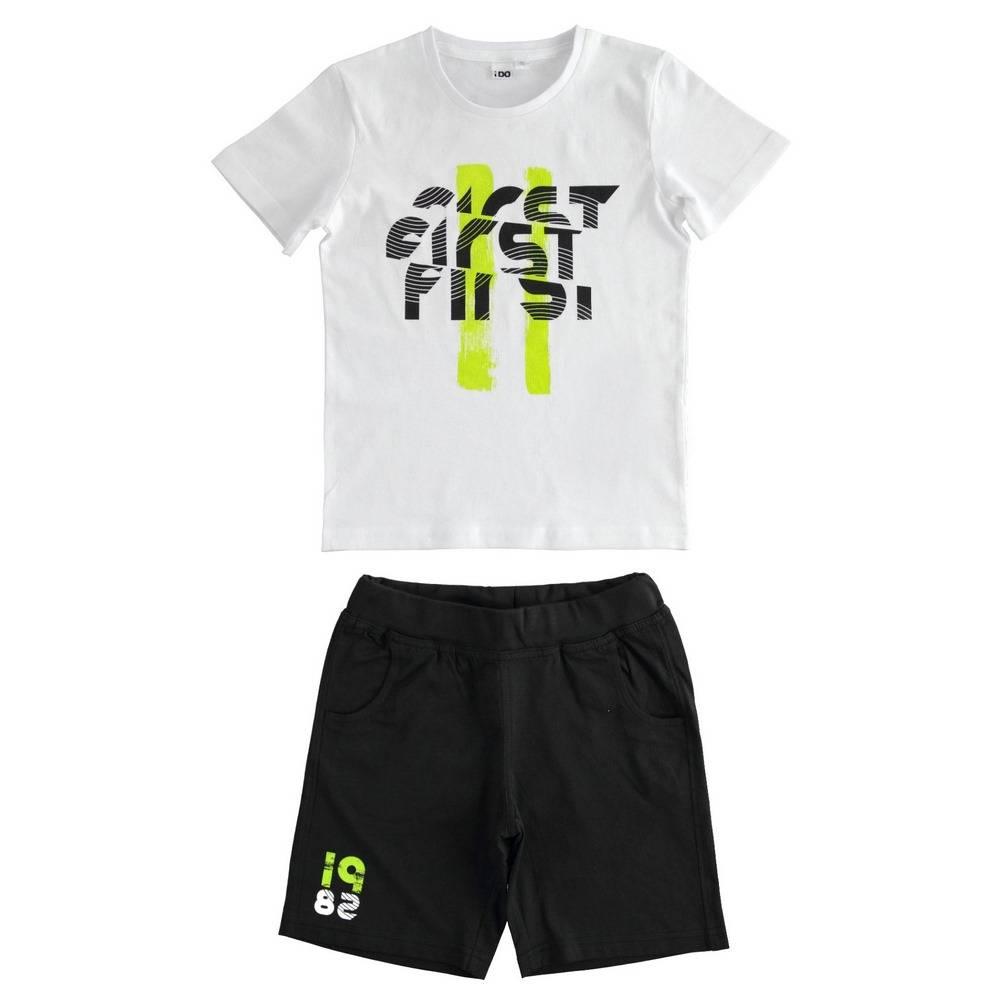 Комплект для мальчика iDO подростка спортивный летний футболка шорты принт 4.2230