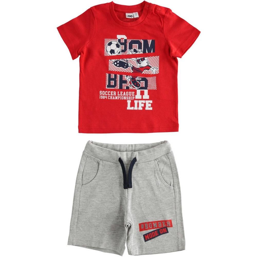 Комплект для мальчика iDO спортивный летний футболка шорты принт 4.2043.00/2256